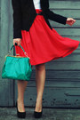 Black-vero-moda-blazer-green-romwe-bag-red-h-m-skirt