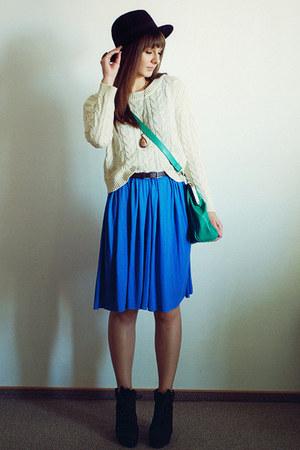 cream Mango sweater - blue romwe dress - forest green romwe bag