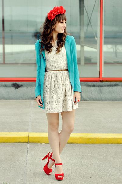 Chicwish dress - romwe blazer - sholove sandals