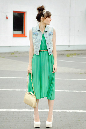 green romwe dress - beige venezia bag