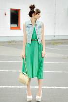 green pleats.