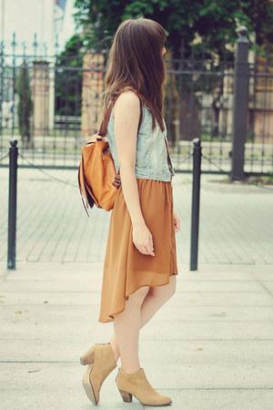 sky blue new look vest - tawny romwe dress - burnt orange romwe bag