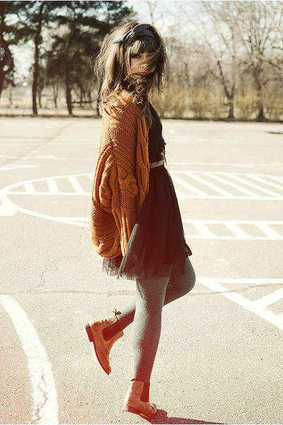 burnt orange romwe cardigan - bronze La Redoute boots