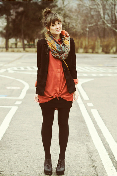 coral Cubus shirt - black Czas na buty wedges