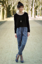 charcoal gray Deichmann heels - black H&M sweater - heather gray H&M Kids pants