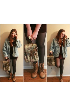 Velvet Minidress dress - Oversized Denim Jacket jacket - Lennon-esque Sunglasses