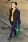 Mustard-jeans-club-sweater-navy-vintage-coat-carrot-orange-h-m-shirt