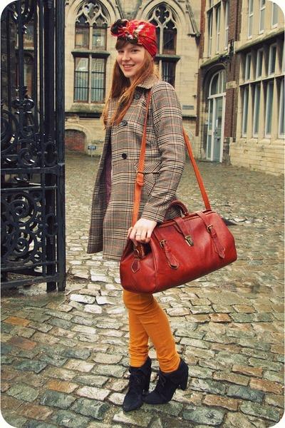 black Zara boots - camel H&M coat - ruby red vintage scarf