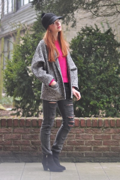 black ripped DIY jeans - black Topshop boots