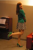 green Forever21 cardigan - H&M skirt - green Zara heels