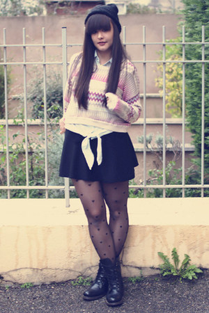 H&M sweater - OASAP tights - DIY skirt - OASAP necklace
