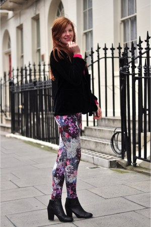black glitter asos boots - light purple floral H&amp;M leggings