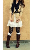 black scarf - dark brown boots - white dress - black stockings - tan cardigan