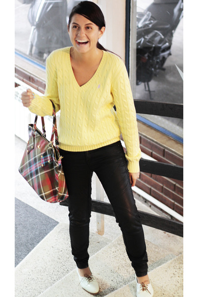 light yellow Ralph Lauren sweater - light blue Bershka shoes - black Zara pants