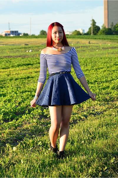 gold Ebay necklace - black Call it Spring boots - navy homemade skirt