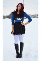 black Ebay boots - blue Ebay sweater - black Ebay skirt - silver Forever 21 belt