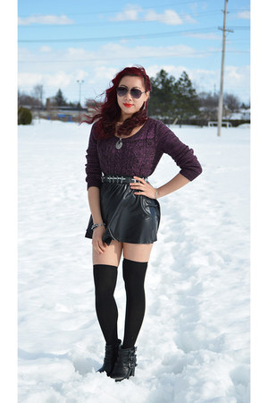 black Call it Spring boots - purple thrifted sweater