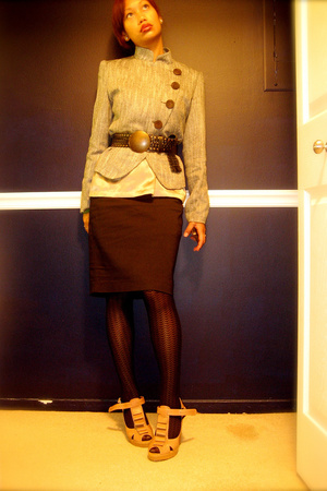 vintage blazer - Express skirt - Proenza Schouler for Go International blouse -