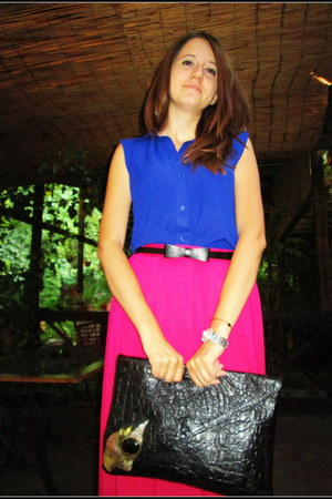 navy Atmosphere shirt - black vintage bag - hot pink Atmosphere skirt