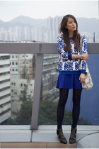 blue random from Hong Kong skirt - black gold studded Ebay boots