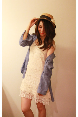 cream crochet dress no brand dress - sky blue H&M shirt