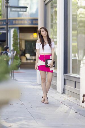 hot pink origami asos skirt - white cotton asos top