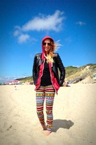 black Zara jacket - hot pink aztec colored H&M pants