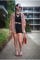 black sheer Blackfashionstore romper - coral Chicwish jacket