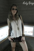 dark brown skirt - off white top - black vest