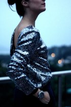 silver sequin backless Disco Pony jumper - navy high waisted Zara pants