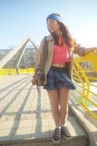 blue scarf - tan jacket - blue Abbey Dawn by Avril Lavigne skirt