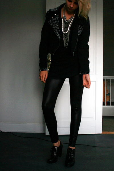 GINA TRICOT jacket - GINA TRICOT t-shirt - Only leggings - Forever 21 necklace -