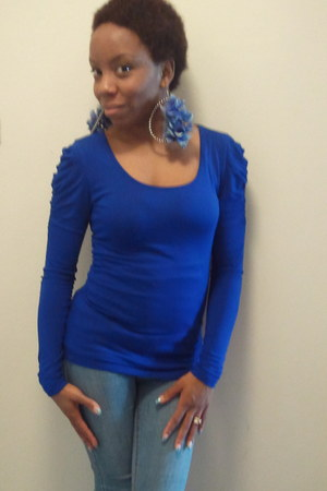 New Yorker blouse - Bamboo boots - Wet Seal jeans - Diva Dezignz earrings