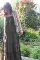green Charlotte Russe dress - beige Forever 21 vest - gold Forever 21 necklace -