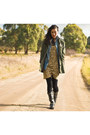 Black-nellie-me-boots-camel-white-suede-dress-olive-green-elwood-jacket-