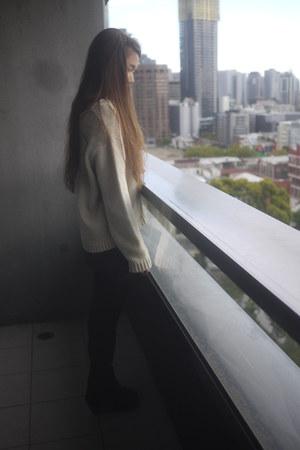 acne jumper - Isabel Marant boots - Maje skirt