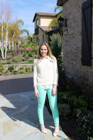 ivory Primark sweater - aquamarine skinny jeans foreign exchange pants