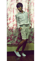 Folded and Hung shirt - Folded and Hung belt - banana republic shorts - Vans sho