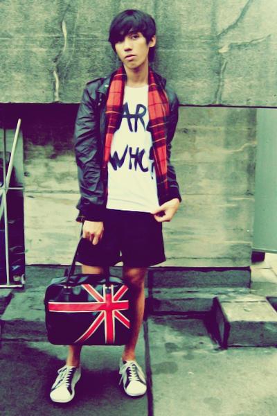 red scarf - black shorts - black purse - white shoes - white shirt - black jacke