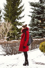 Black-zara-boots-red-zara-coat-red-fur-ivagio-scarf
