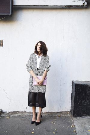 black sheer I am skirt - white leopard print reserved coat - white I am shirt