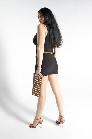 black Bebe dress - bronze bag - bronze sandals - gold ring