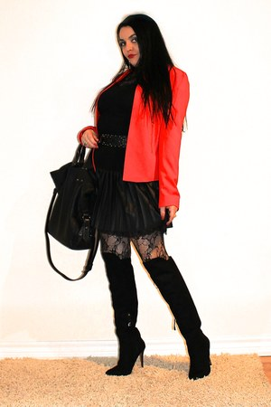 black LABELSHOEScom boots - red Forever21 blazer - black Guess skirt