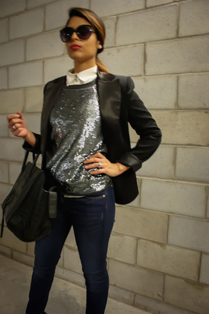 charcoal gray BCBG sweater - navy Zara jeans - black BCBG blazer