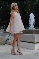 light pink Sheinside dress - mustard H&M earrings
