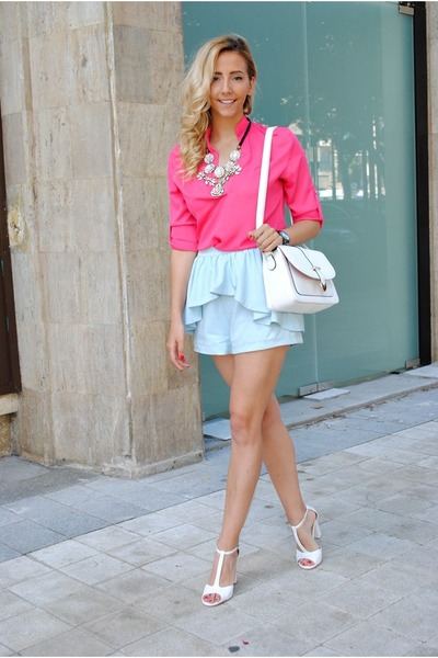 light blue Sheinside shorts - bubble gum Sheinside blouse - white OASAP sandals