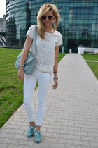 white Zara blouse - white Zara jeans - aquamarine Sheinside bag