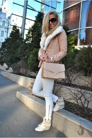 white Zara jeans - neutral Sheinside coat