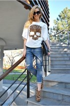 brown Topb2c boots - white Sheinside t-shirt