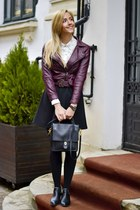 black OASAP boots - maroon Cozbest jacket - black coach bag
